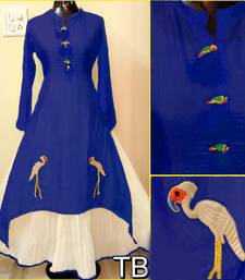 Buy Blue embroidered chanderi stitched embroidered-kurtis embroidered-kurtis online