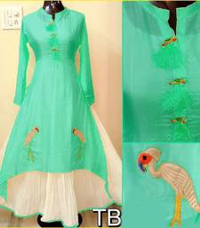 Buy Green embroidered chanderi stitched embroidered-kurtis embroidered-kurti online
