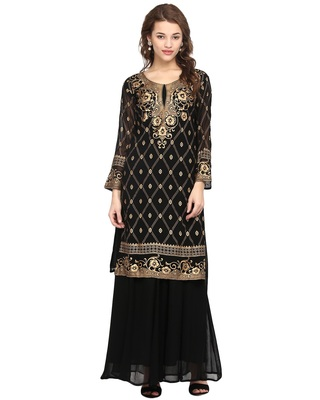 Black printed georgette stitched kurtas-and-kurtis