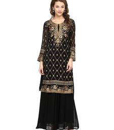 Buy Black printed georgette stitched kurtas-and-kurtis kurtas-and-kurti online