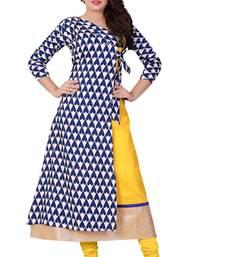 Buy Multicolor printed crepe stitched long kurtis long-kurti online