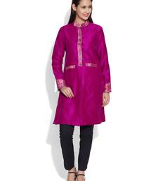Buy Magenta dupion silk plain ethnic jackets ethnic-jacket online