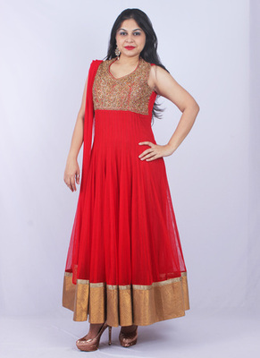 Red Net Stone Kundan Embroidery Full Length Anarkali