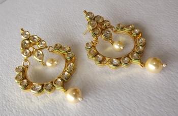 Golden Kundan Chaandbaalis with Pearl Danglers Drops in