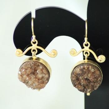 Brown Druzy Drops Danglers Earrings Jhumkas