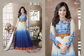 Shaded Blue  ColourEmbroidered Georgette  Semi Stitched Straight Cut suit