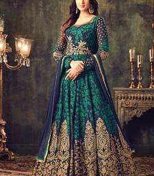 Buy Navy blue embroidered georgette salwar with dupatta semi-stitched-salwar-suit online