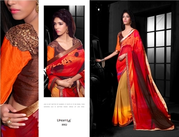 Orange Embroidred Georgette Saree with Blouse