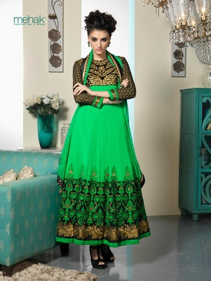 Green Embroidery Pure Georgette Semi Stitched Designer Anarkali Suit