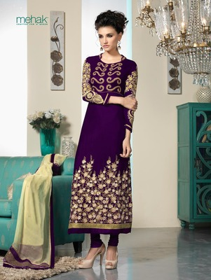 Purple Embroidery Velvet Semi Stitched Designer Anarkali Suit