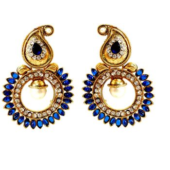 Royal Blue Paisely Round Stone Earring