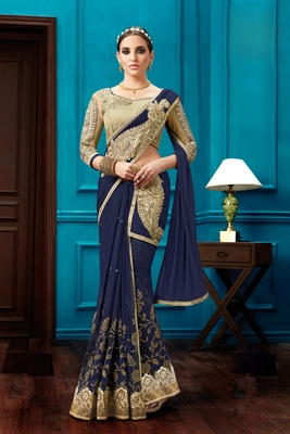 Navy blue embroidered net saree with blouse