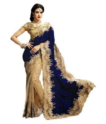 Blue plain velvet saree with blouse