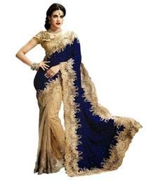 Buy Blue plain velvet saree with blouse net-saree online