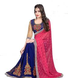 Buy Blue and Red embroidered Silk saree with blouse designer-embroidered-saree online