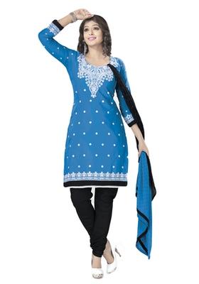 Blue & Black Cotton unstitched churidar kameez with dupatta