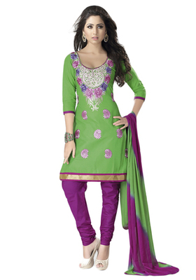 Green & Pink Cotton unstitched churidar kameez with dupatta