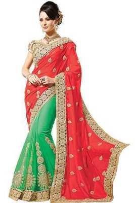 Green georgette zari worked saree in black border & red pallu-SR6064