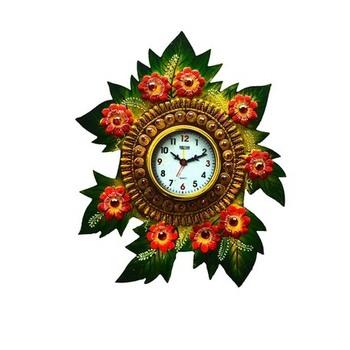 Papier-Mache Floral Wall Clock