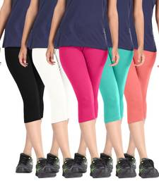 Buy Pixie Cotton Lycra 190 GSM, 4 Way Stretchable (Pack of 5) Women capris-3-4-pants capris-3-4-pant online