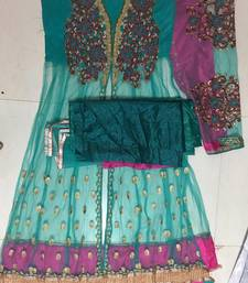 Sea Green georgette embroidered semi_stitched salwar with dupatta