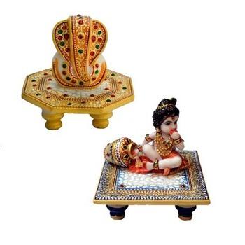 Combo of Lord Ganesha Marble Chowki and Laddu Gopal chowki