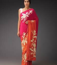 Buy Pink printed faux tussar silk saree with blouse tussar-silk-saree online