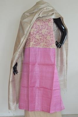 Baby Pink colour, Patch_work, Tussar silk, churidhar, party-wear-salwar-kameez