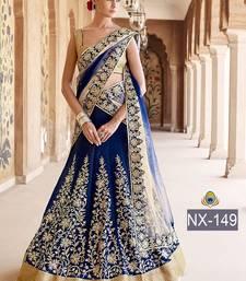 Buy Blue embroidered silk unstitched lehenga with dupatta lehenga online