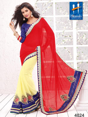 Red & Yellow Chifon Patch Work Saree With Blouse Pieces
