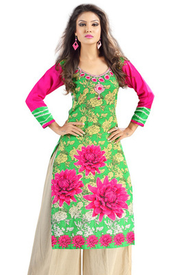 Green and Pink Cambric Cotton Floral Printed Kurti