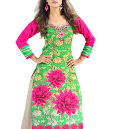 Buy Green and Pink Cambric Cotton Floral Printed Kurti wedding-season-sale online