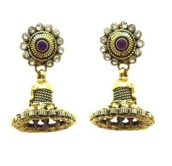 purple color jhumki style polki earring