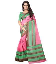 Buy Pink printed bhagalpuri silk saree with blouse printed-saree online