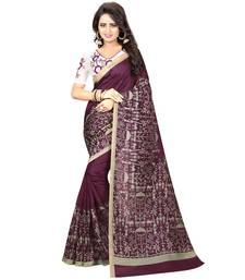 Buy Brown printed kalamkari saree with blouse black-friday-deal-sale online