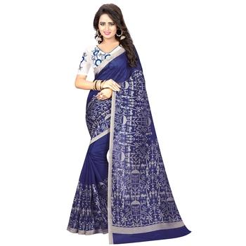 Blue printed kalamkari saree with blouse