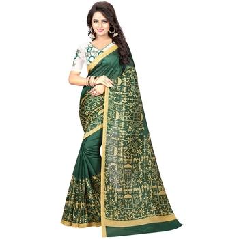 Green printed kalamkari saree with blouse