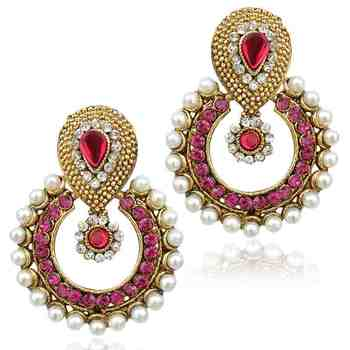 Pearl rani pink ethnic India traditional bollywood woman jewelry earring b332r
