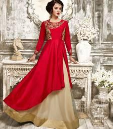 Buy Red embroidered taffeta salwar sharara online
