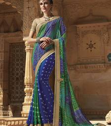 Buy Blue embroidered georgette saree with blouse bandhani-sarees-bandhej online