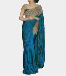 Buy Blue embroidered silk saree with blouse art-silk-saree online