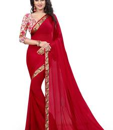 Buy Red woven nazneen saree with blouse hand-woven-saree online
