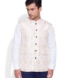 Buy ivory printed stitched nehru jacket nehru-jacket online