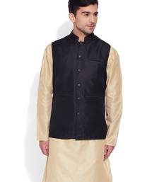 Buy black printed stitched nehru jacket gifts-for-brother online