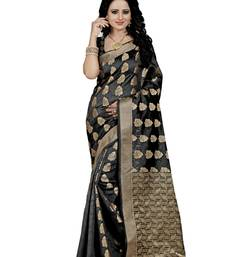 Buy Black hand woven art silk saree with blouse banarasi-saree online