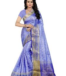 Buy Sky Blue hand woven art silk saree with blouse banarasi-saree online