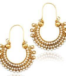 Buy Pearl golden finish ethnic bali hoop Indian vintage ethnic jewelry earring dds PSEAZ001WH mz1 hoop online