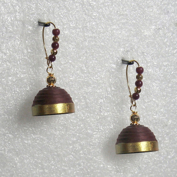 Coco brown hanging quilled jhumkas