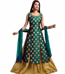 Buy Green brasso jacquard semi-stitched indo-western ethnic-suit online