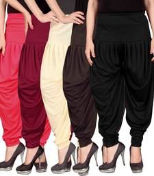 Buy Pink maroon cream brown black stirped combo pack of 5 free size harem pants harem-pant online